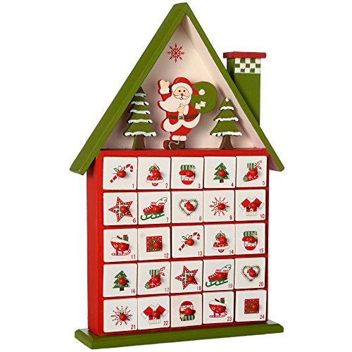 WeRChristmasDecorazione natalizia a forma di casa con calendario dell'Avvento, in legno, 37cm, multicolore