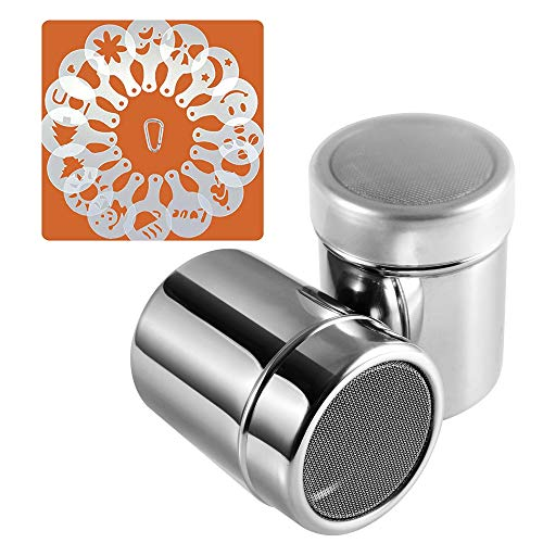 Powder Sugar Shaker with Lid, SOSMAR 18/8 Stainless Steel Cocoa Cinnamon Mesh Sifter/Sprinkler/Dredgers for Coffee Cappuccino Latte, 16 Pcs Coffee Stencils Template & Clip, 250 ML/ 8.5 OZ