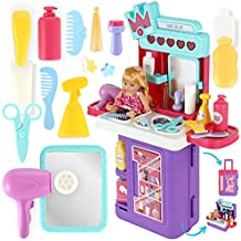 Kids Play Vanity Beauty Salon and Pretend Makeup Kit for Girls with 35 Pcs and a Doll that Lights Up, Little Princess Beauty Set with Mirror, Lipstick, Eyeshadow, Hair Dryer, Perfume, and More
