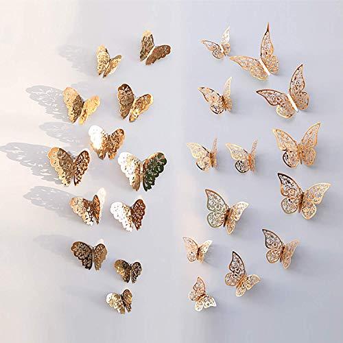 NATEE 24 Pcs Schmetterling Wandaufkleber, Wanddeko Aufkleber Wandsticker Abziehbilder, Creatiees 3D Dekorationen für Hauptdekorationen Raumdekoration Kinder Schlafzimmer Kindergarten Deko (Gold)