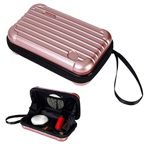 PU Leather Mini cosmetics cosmetics box, cosmetics handbag, travel suitcase.With Bracelet (rose gold)