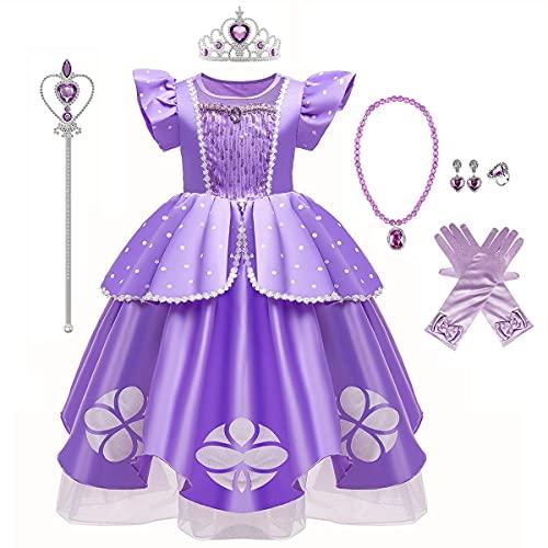 MYRISAM Vestidos de Princesa Sofia para Niñas Disfraz de Carnaval Rapunzel Traje de Halloween Navidad Cumpleaños Fiesta Ceremonia Aniversario Cosplay Vestir con Accesorios 3-4 años