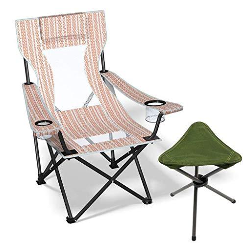 Silla de Camping Silla de Playa Ligera compacta y Resistente (admite 330 Libras) con Taburete Triangular para Campamento mochilero al Aire Libre