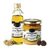 Aceite de trufa blanca con aceite de oliva virgen extra Tuber Magnatum Pico (100 ml) para cocinar, servir, ensaladas y aceitunas verdes y Salsa Gourmet de Alcachofas con Trufa Negra (180g)