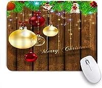 EILANNAマウスパッド メリークリスマスの飾りボールノスタルジックな素朴な木の板の休日のお祝い ゲーミング オフィス最適 高級感 おしゃれ 防水 耐久性が良い 滑り止めゴム底 ゲーミングなど適用 用ノートブックコンピュータマウスマット