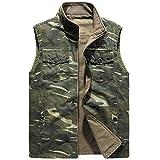 YJWSPD Hombres Chaqueta Cuero Moda Cuero Jackets Chaleco de camuflaje para hombre Cotton-Army Green_M