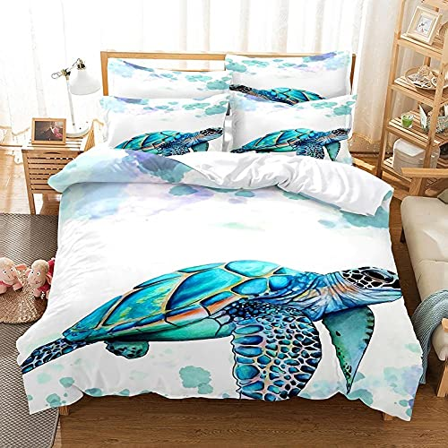 Bettwäsche 155 X 220 Meeresschildkröte Bettbezug Set 3D,Bettbezüge Mikrofaser Bettbezug mit Reißverschluss und 2 Kissenbezug 80X80cm ,Bettbezug Jugendliche ,Bettwäsche-Sets Modern