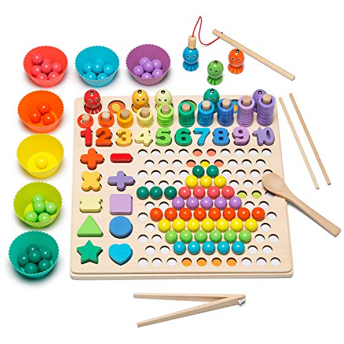 Collun Wooden Fishing Game Clip Beads Game Logarithmic Board for ToddlersWood Number Puzzles Shape Sorting Montessori Toys13 in 1 Jigsaw Puzzle Board STEM Toy Gifts for Boy Girl Kids FishBoard13