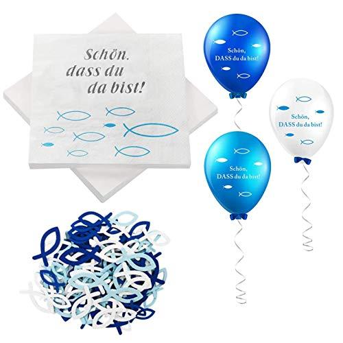 KOHMUI 32 Servietten 'Schön, DASS du da bist!', 60 Stücke Holz Fische Deko, 18 Luftballons, Blau Weiß Fisch Dekoration Tischdeko für Taufe, Kommunion Konfirmation oder andere Festliche Anlässe