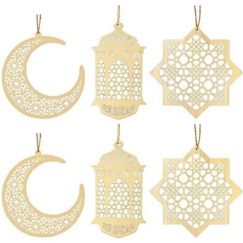 Kulannder 6 Piezas de Madera Hueco Colgante Ornamento Eid DIY Decoraciones con Luna Colgante luz de Viento Forma Ornamento para Eid Mubarak Musulmán, Fiesta de Boda en Casa.