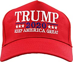 Trump 2020 Campaign Hat - Keep America Great Embroidered in USA 100% High Quality Cotton Made One Size Adjustable Snapback Closure 5 Panel Constructed Front - Pre-Curved Visor