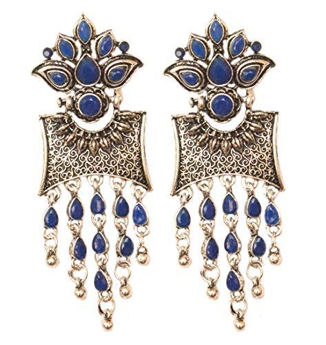 Pahal - Pendientes Jhumka étnicos azules Kundan oxidados en capas grandes de plata con borla, joyería de boda india Bollywood para mujer