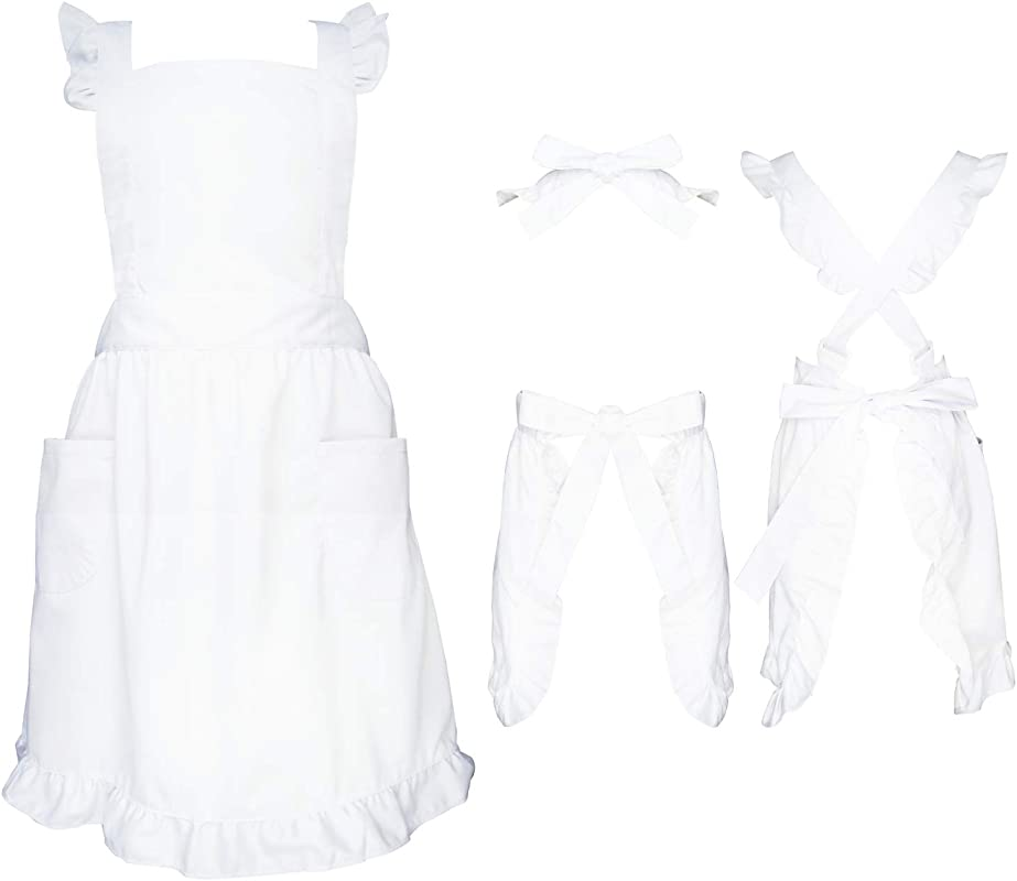 Premium Maid Apron With Ruffle Outline Victorian Apron With Two Kinds Adjustable Straps Method Frilly Apron For Women Cosplay Character Day One Size Fits All White