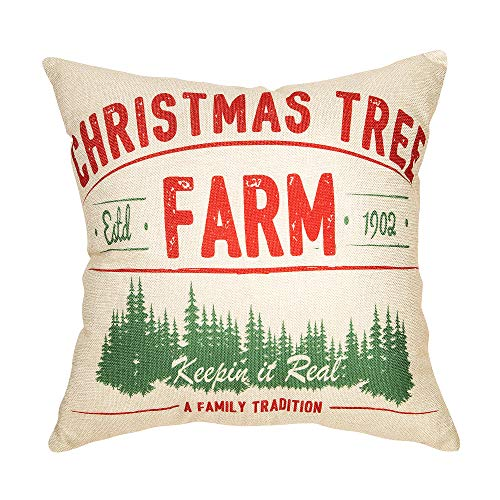 Fjfz Rustic Farmhouse Decor Christmas Tree, Keepin in Real A Family Tradition Winter Holiday Sign Decoration Cotton Linen Home Decorative Throw Pillow Case Cushion Cover for Sofa Couch, 18' x 18'