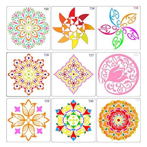 Healifty 12 Stks Schilderen Stencils Sjabloon Mandala Dot Gestanst Tekening Sjablonen Mallen Schilderen Tool Voor Diy Kaart Maken Scrapbooking Papier Fotoalbum Decoratie
