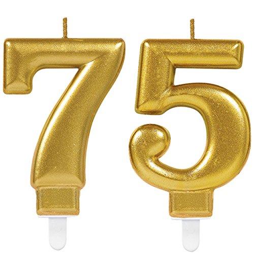 Carpeta 2X Zahlenkerzen * Zahl 75 * in Gold   11cm x 9cm groß   Deko Goldene Hochzeit Jubiläum Geburtstagskerze Kerze Geburtstag
