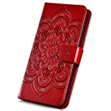 Surakey Hülle für Huawei Honor View 10 Handyhülle Brieftasche Stil Handytasche PU Leder Schutzhülle Flip Hülle Cover Mandala Blumen Muster Lederhülle Wallet Hülle Ständer Kartenfächer, Rot