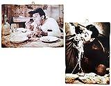 KUSTOM ART Juego de 2 cuadros de estilo vintage con los famosos actores – Alberto Sordi y Totò – Impresión sobre madera para decoración de restaurantes, pizzerías, tractores de bar, hotel, locanda