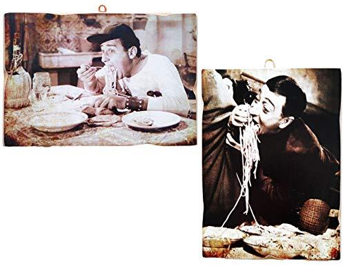 KUSTOM ART Set di 2 Quadretti Stile Vintage Attori Famosi - Alberto Sordi e Totò - Stampa su Legno per Arredamento Ristorante Pizzeria Trattoria Bar Albergo Locanda