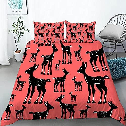 Nordica Cama 135, Impresión de Ciervo Rojo, Juego de Fundas de edredón 220x230 cm, de fácil Cuidado, 100% Microfibra, Suave y cómoda, con 2 Fundas de Almohada 50x80 cm