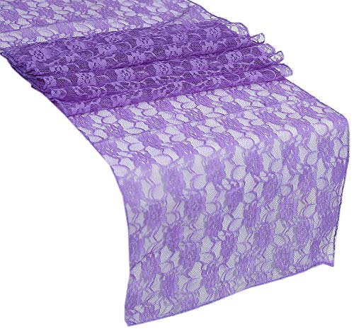 VDS Table Runner Lace Floral Runner for Wedding Reception Party Table Decoration 12 X 108 Inch (Pack of 15) Lavender