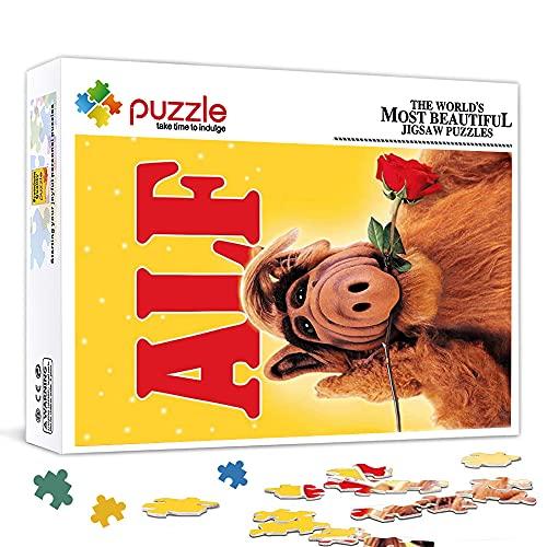 Mini Puzzles 1000 Teile für Erwachsene ALF TV-Show Poster Puzzle aus Karton, Interessantes Spielzeug Personalisiertes Geschenk Familienpuzzle Spiel38x26cm