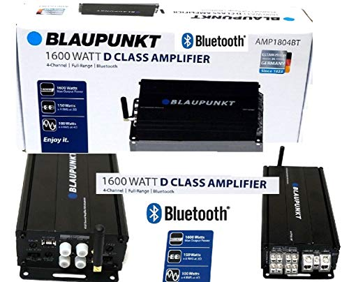 Blaupunkt AMP1804BT Car Audio 4-Channel Class D Amplifier 1600W with Bluetooth Full Range Amp.