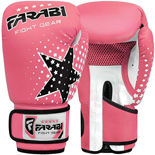 Farabi Kids Boxing Gloves 6-oz Kick Boxing Training Muay Thai, Age 4-9 Year Old (Pink)