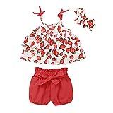 Conjuntos Bebé Niña Recién Nacido de Verano Camiseta Tirantes Estampado Floral + Pantalones Cortos Rojos + Banda de Pelo Floral Verano (Rojo, 18-24 M)