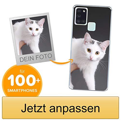 Coverpersonalizzate.it Handyhülle für Samsung Galaxy A21s mit Foto-, Bildern- oder Text selbst gestalten- Die Handyhülle ist aus weichem transparentem TPU-Silikon-Gel Material
