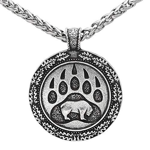GuoShuang Noridic Viking Bear paw Valknut Viking Necklace with Valknut Gift Bag Silver