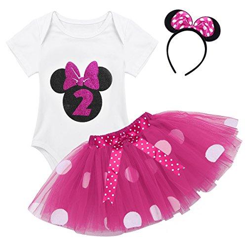 TiaoBug Baby Mädchen Kleidung Set Kleider Baumwolle Strampler Prinzessin Kostüm Neugeborene Polka Dots Tutu Kleid mit Haarreif Rose mit 2 80-92