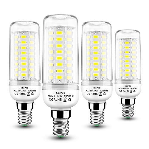 KSIPZE lampadina led e14 Lampadine Mais E14 10W Equivalente 60W Lampada Alogena Bianco Freddo 6000K 800LM Angolo 360 non dimmerabile 4 Pezzi