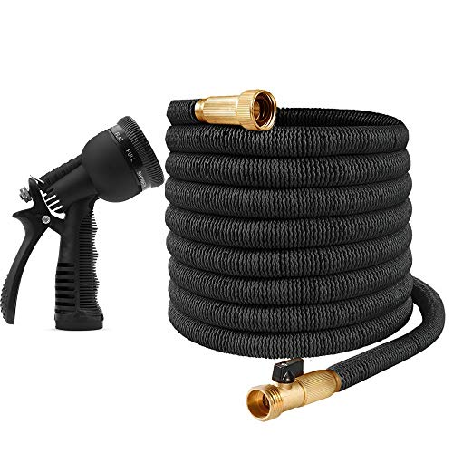 "Ovareo Garden Hose, Flexible and Expandable Garden Hoses, Heavy Duty Triple Latex Core with 3/4"" Solid Brass Fittings, 8 Function Hose Spray Nozzle, Easy Storage Kink Free Water Hose (75 FT, Black)"