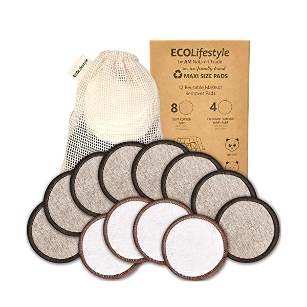 Beauty Shopping Reusable Makeup Remover Pads – 12 MAXI SIZE Reusable Bamboo and Cotton Rounds