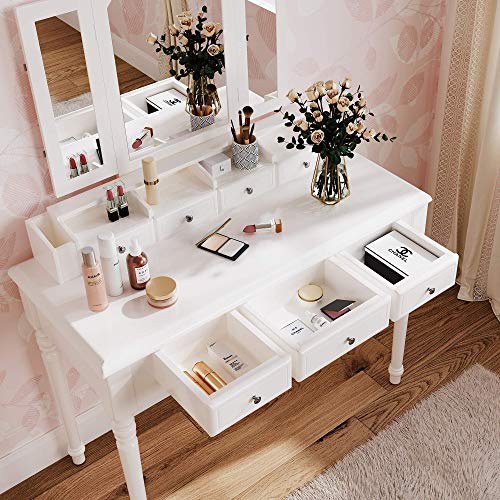 M&W Makeup Vanity Table Set with Tri-Folding Mirror, Dressing Table and Cushioned Stool with 7 Drawers for Bedroom, White