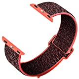 YC YANCH Sport Loop Compatible with Apple Watch Band 42mm/ 44mm, Breathable Soft Wristband Strap Replacement Compatible for iWatch Series 1/2/ 3/4/ 5(42mm/44mm,Red Black)