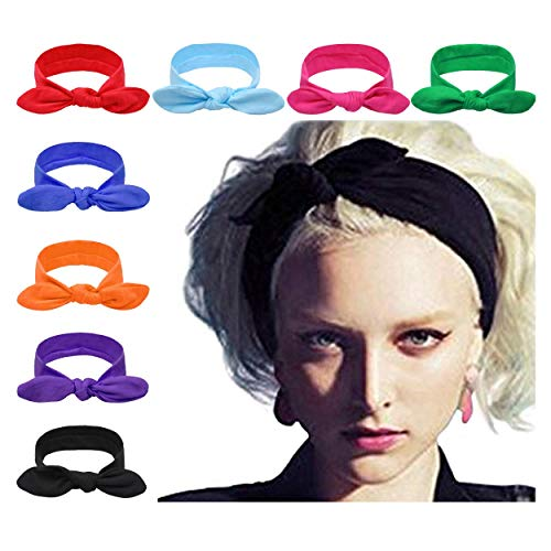 DRESHOW 8 PCS Women Turban Headbands Headwraps Hair Bands Bows Accessories,One Size,Bow Style A, 8 Pack