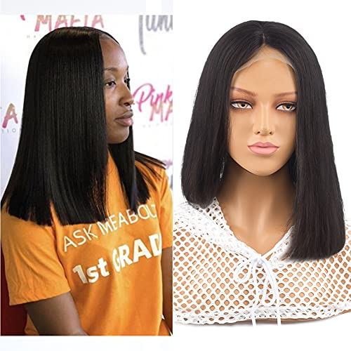Short Bob Wigs Human Hair Lace Front Wigs Brazilian Virgin Human Hair 4x4 Lace Closure Straight Bob Wigs for Black Women Pre Plucked with Baby Hair Remy Hair Lace Front Wigs Human Hair