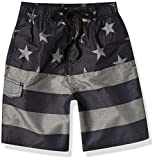 Kanu Surf Boys' Echo Quick Dry UPF 50+ Beach Swim Trunk, Flag II Black, Small (8)