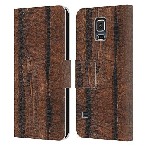 Head Case Designs Licenza Ufficiale PLdesign Legno Antico Rustico Marrone Stampe di Legno E Ruggine Cover in Pelle a Portafoglio Compatibile con Samsung Galaxy S5 / S5 Neo