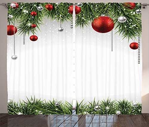 """Ambesonne Christmas Curtains, Classical Christmas Ornaments and Baubles Coniferous Pine Tree Twig Tinsel Print, Living Room Bedroom Window Drapes 2 Panel Set, 108"""" X 90"""", Vermilion Green"""
