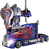 MUMUMI Transformers Optimus Prime Toys Car,Deformation Autobots Semi-Truck Children Charging Remote Control Car Boy Hornet Robot 3-6 Years Old,Kid's Birthday Remote Control Toy Car Gift