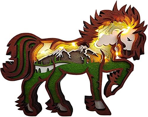 Adorno navideño Escultura de caballo con tótem animal, 3D Talla de múltiples capas de animales Escultura de pared de arte de madera Estatua de caballo Artesanía decorativa para recuerdo (con lámpara)