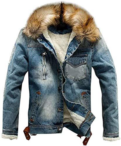 Men's Casual Pocket Button Rinsing Flick Denim Hooded Jacket Tops Coat Men Warm Hooded Washed Long Sleeve Jackets S-4XL
