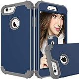 Carcasa protectora 3 en 1 PC+TPU resistente híbrido de alto impacto a prueba de golpes para iPhone 6 Plus/6S Plus (color azul marino y gris)