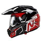 Nitro MX670 Podium Adventure - Casco para motocicleta, color blanco, negro, rojo L