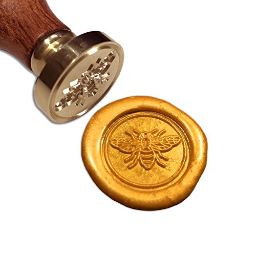 Bee Wax Seal Stamp, Botokon Vintage Retro Brass Head Wooden Handle Removable Sealing Stamp, Ideal for Embellishment of Envelopes, Invitations, Wine Packages, etc