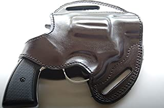 cal38 Leather Handcrafted Belt Holster for Colt Detective 38 Special Black Tan (R.H)
