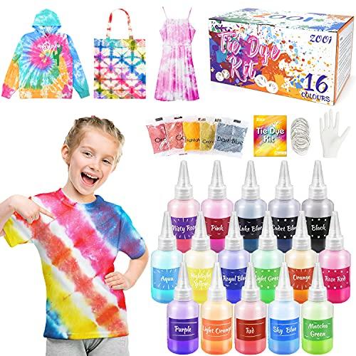 ZOOI Batikfarben Set - 16 Färben DIY Textilfarbe   Tie Dye Kit   Batik Set Waschmaschinenfest Von Stoff Und Kleidung, Färbemittel Textilien für Kindergeburtstag Bastelset Kinder & Erwachsene